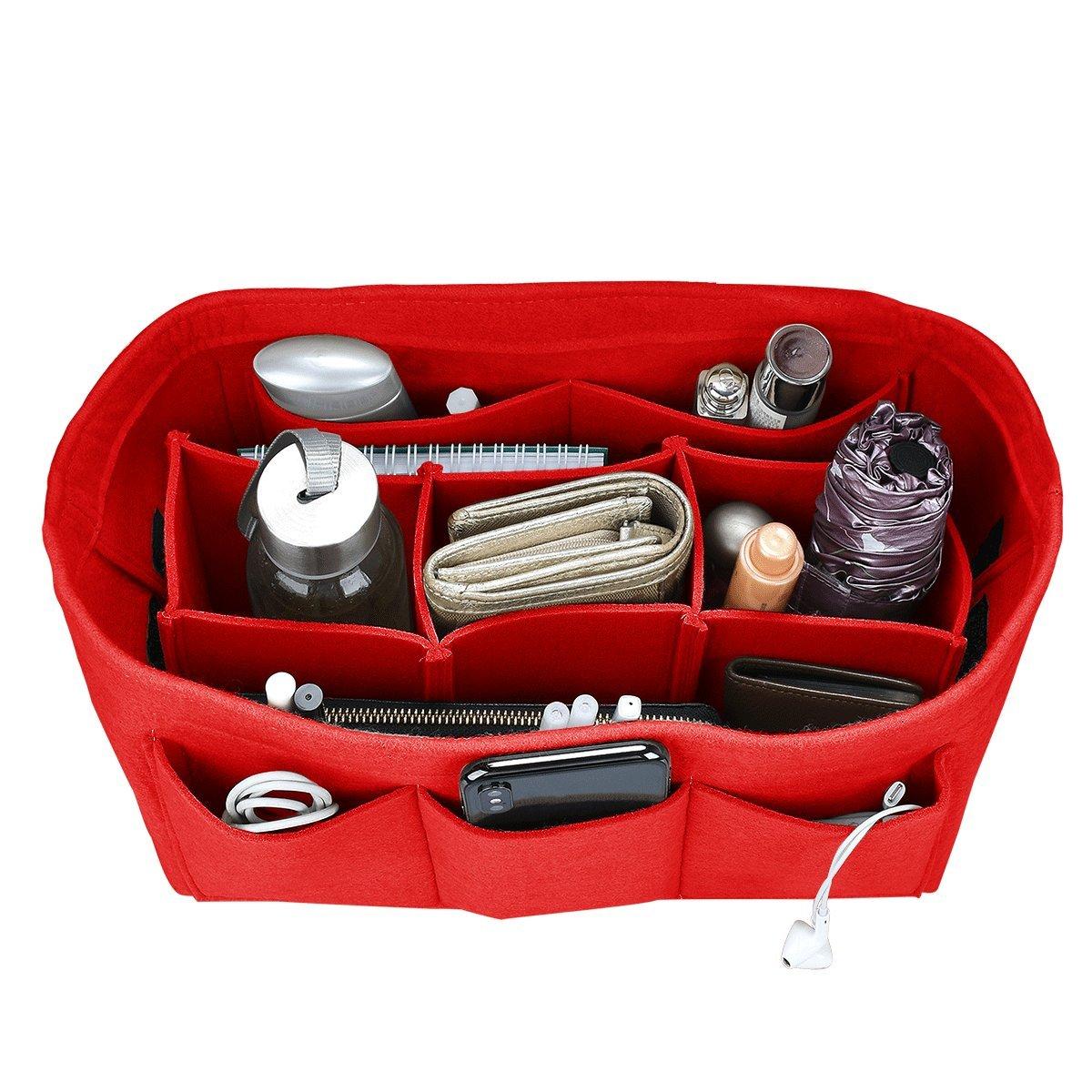 Felt Purse Insert Organizer, Handbag organizer, Bag in Bag for Handbag Purse Tote, Diaper Bag Organizer, Stand on Its Own, 12 Compartments, 3 Sizes (XL, Red)