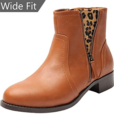 5d8623932a5 Women s Wide Width Ankle Boots - Low Heel Round Toe Slip on Side Zip  Leopard Print