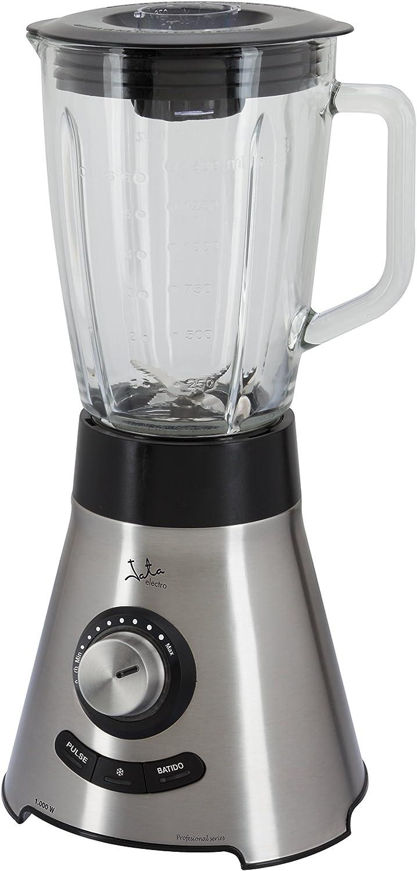 Jata BT1032 Batidora electrónica de vaso, 1000 W, 1.5 litros, 0 Decibelios, Vidrio, 6 Velocidades, Acero inoxidable con detalles en negro