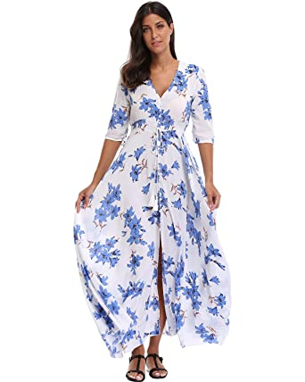 c9aa66fd12af BestWendding Summer Floral Print Maxi Dress Women Button up Split Long Flowy  Bohemian Beach Party Dresses