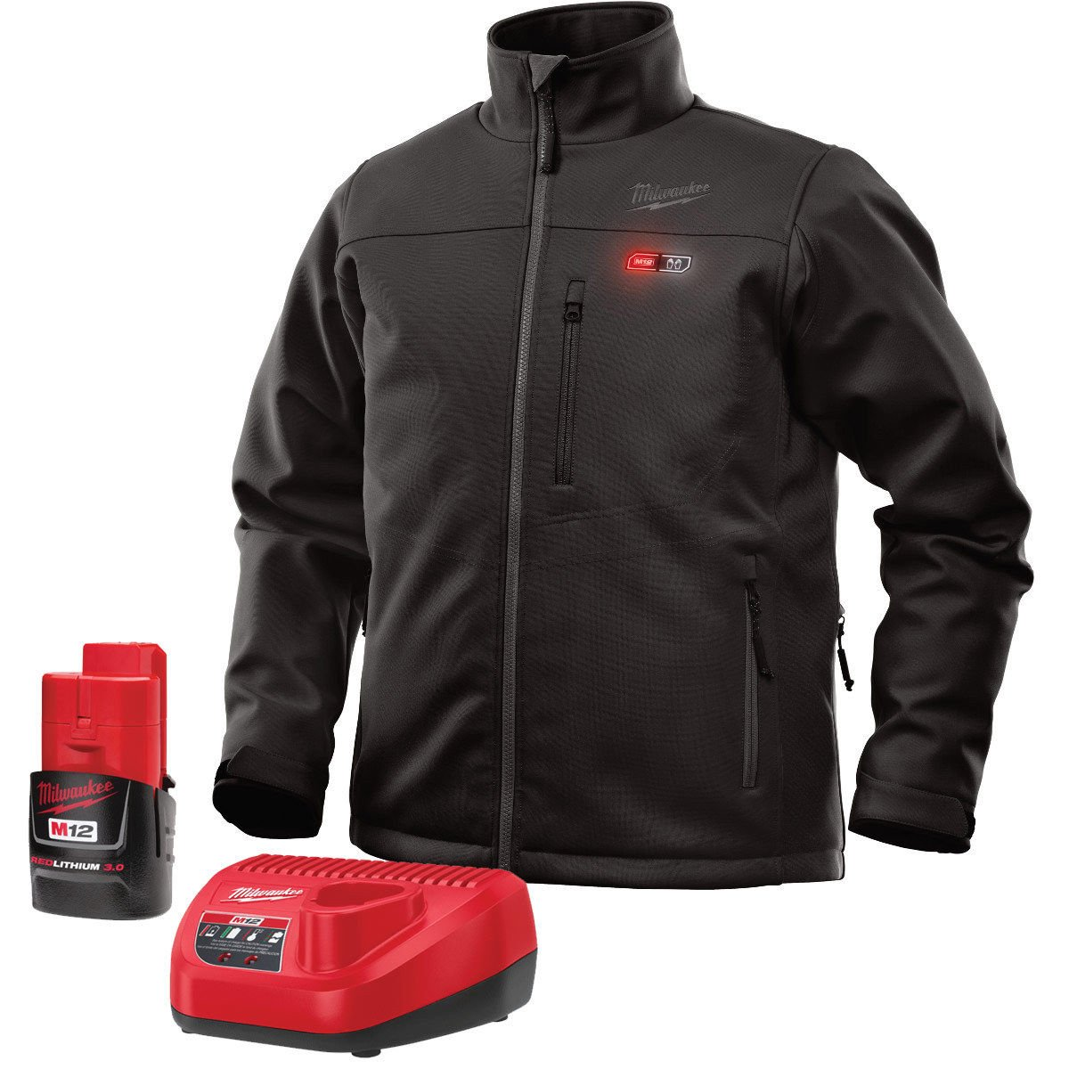 Milwaukee Jacket KIT M12 12V Lithium-Ion Heated Front and Back Heat Zones All Sizes and Colors - Battery and Charger Included (Extra Large, Black) by Milwaukee