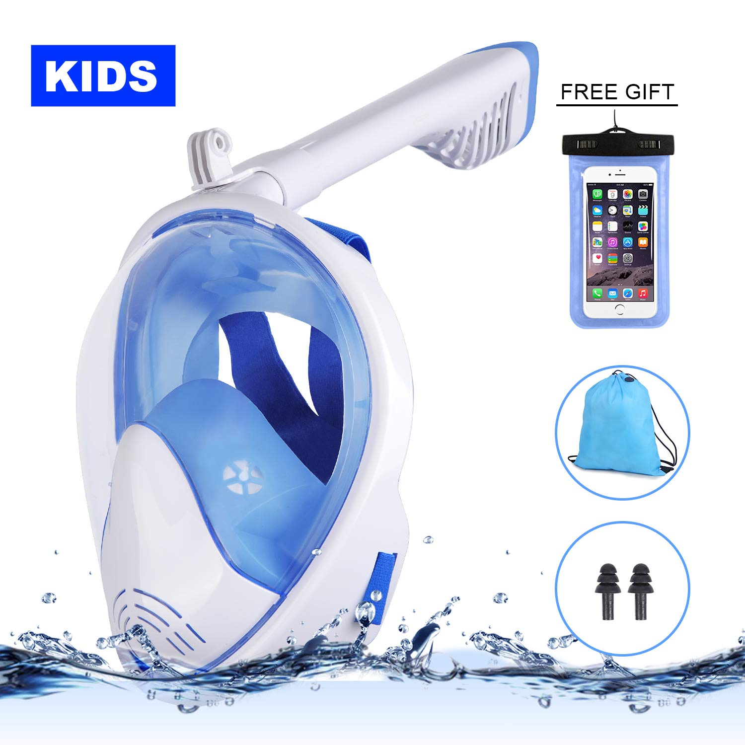 Full Face Snorkel Mask Kids, Swim Snorkel Mask Foldable Easy Carrying, 180°Panoramic View Anti-Fog Anti-Leak With Snorkel Tube Easy Breath and Detachable Camera Mount Easy Insatll For Swimming Snorkel