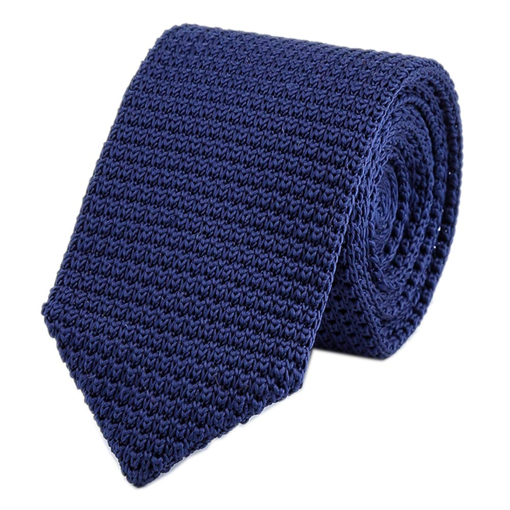 Mens Classic Solid Color Navy Blue Knitted Ties Vintage Stylish Necktie for Gift