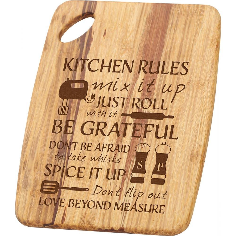 Kitchen Rules Tiger Wood Cutting Board with Handle