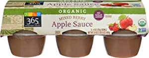 365 Everyday Value, Apple Sauce Mixed Berry Organic, 4 Ounce, 6 Pack
