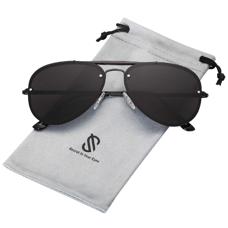SOJOS Rimless Aviator Sunglasses for Men and Women Metal Frame Mirrored Lens TRENDALERT SJ1105 with Black Frame/Grey Lens by SOJOS
