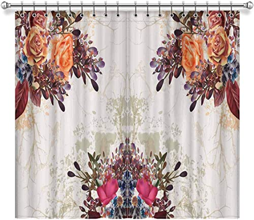 InterestPrint Classic Grunge Beautiful Pastel Rose Flowers Blackout Window Curtain Panels Darkening Window Curtain