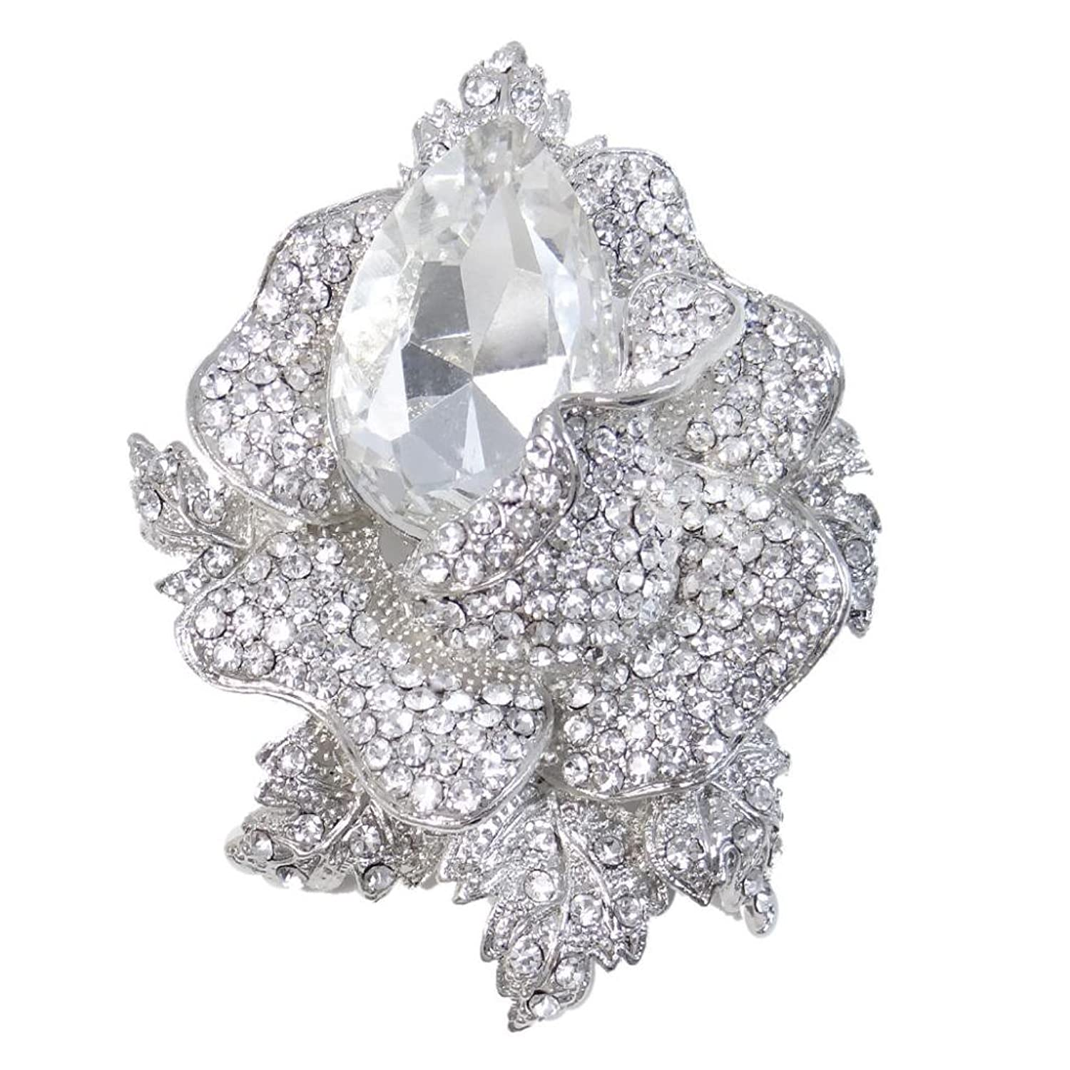 EVER FAITH Austrian Crystal Wedding Rose Flower Bud Pendant Brooch Clear Silver-Tone
