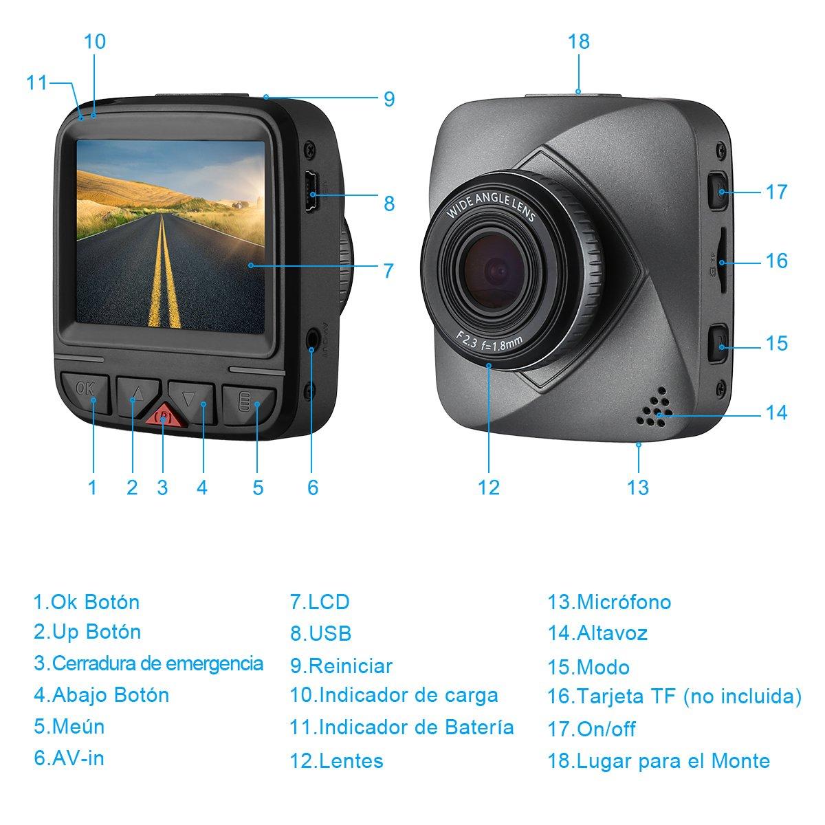 isYoung Dashboard Cámara 720P Car Video Recorder Car Dash Cam Car Dashboard DVR Video Recorder con grabación en bucle, 120 grados