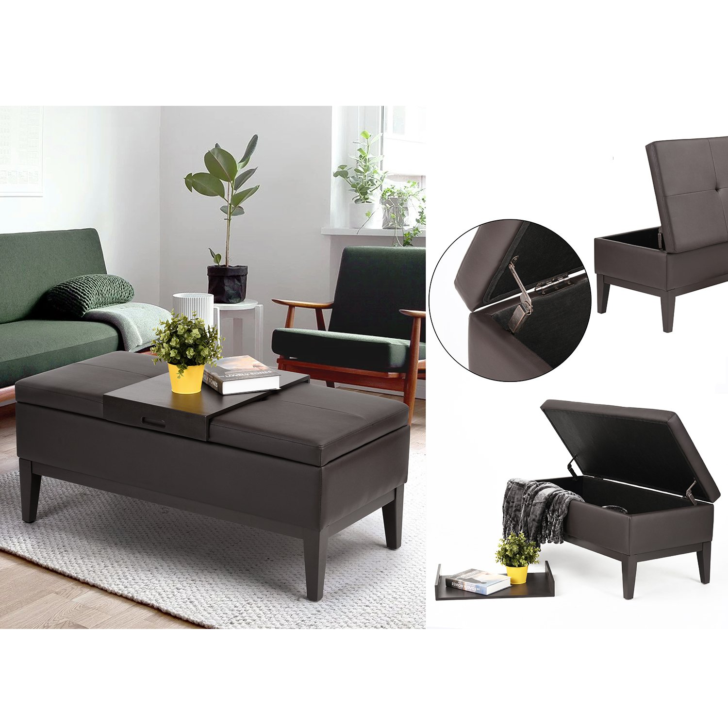 Brown Bonded Leather Storage Bench with Wood Tray