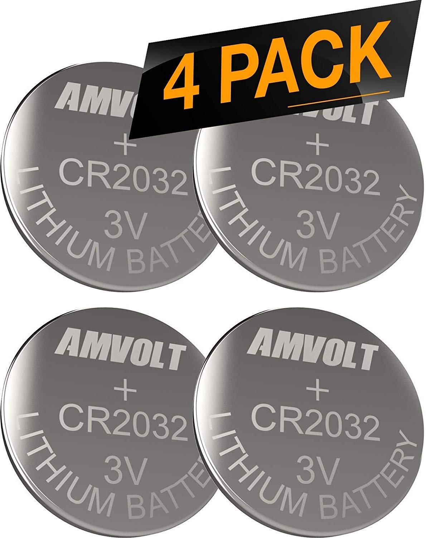 AmVolt CR2032 バッテリー 220mAh 3ボルト リチウムバッテリー コインボタン 電池 2023 Expiry Date 4パック   B07QQZS89V