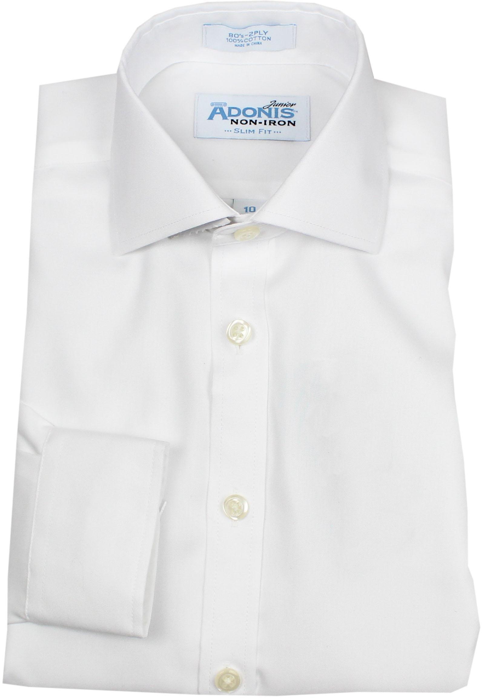 ADONIS Boys 100% Cotton Non Iron White Solid Pinpoint Long Sleeve Dress Shirt - White, 12 Slim