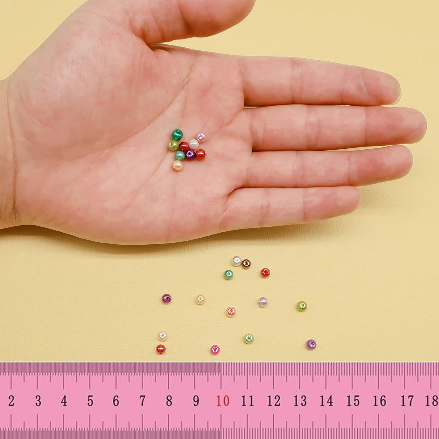 TOAOB 200pcs 4mm The Hole 1mm Glass Pearl Beads Round Loose Beads Multi Color for Handmade