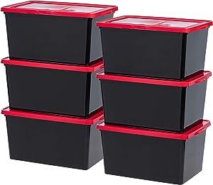 IRIS USA, Inc. CNL-58 58 Quart Storage Box, 6 Pack, Black/Red
