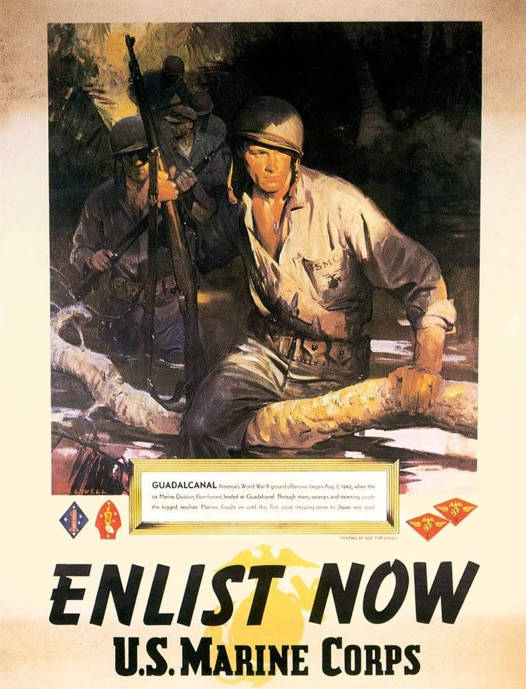 WWII Historic Vintage Enlistment Poster 18x24 1942 Join the US Marines