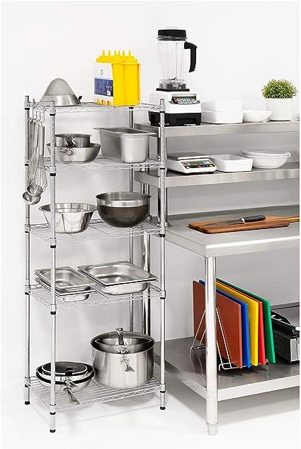 5 Ripiani, 150 kg, Metallo, Plastica, Grigio Royal Catering Scaffale Metallico Componibile Scaffalatura in Metallo RCMR-1500P19