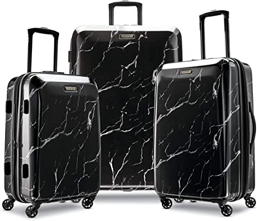 American Tourister Moonlight Hardside Expandable Luggage with Spinner Wheels, Black Marble, 3-Piece Set 21 24 28