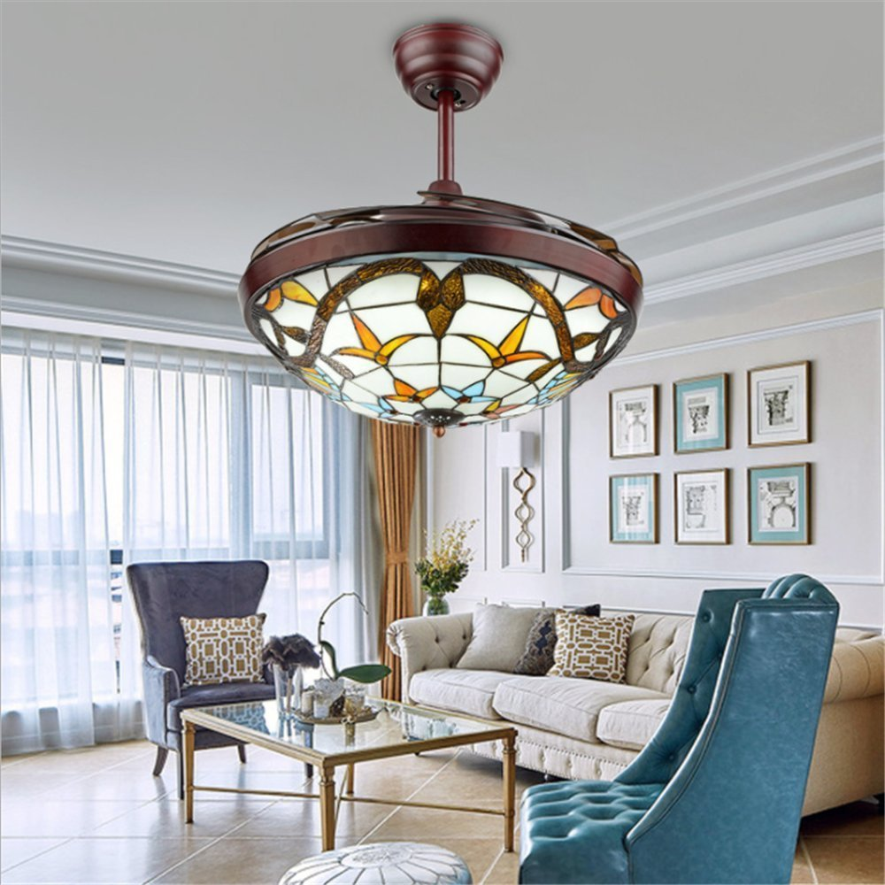 Fandian 42 Tiffany Style Ceiling Fan with Light Classic LED Chandelier Remote Control Retractable 3 Speeds 3 Light Changes Ceiling Lamp Lighting Fixture, Silent Motor Craft-made Colorful Lampshade