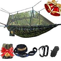 LYDUO Hamac de Voyage Camping, Hamac Moustiquaire 300KG, Parachute Hamac, Jardin