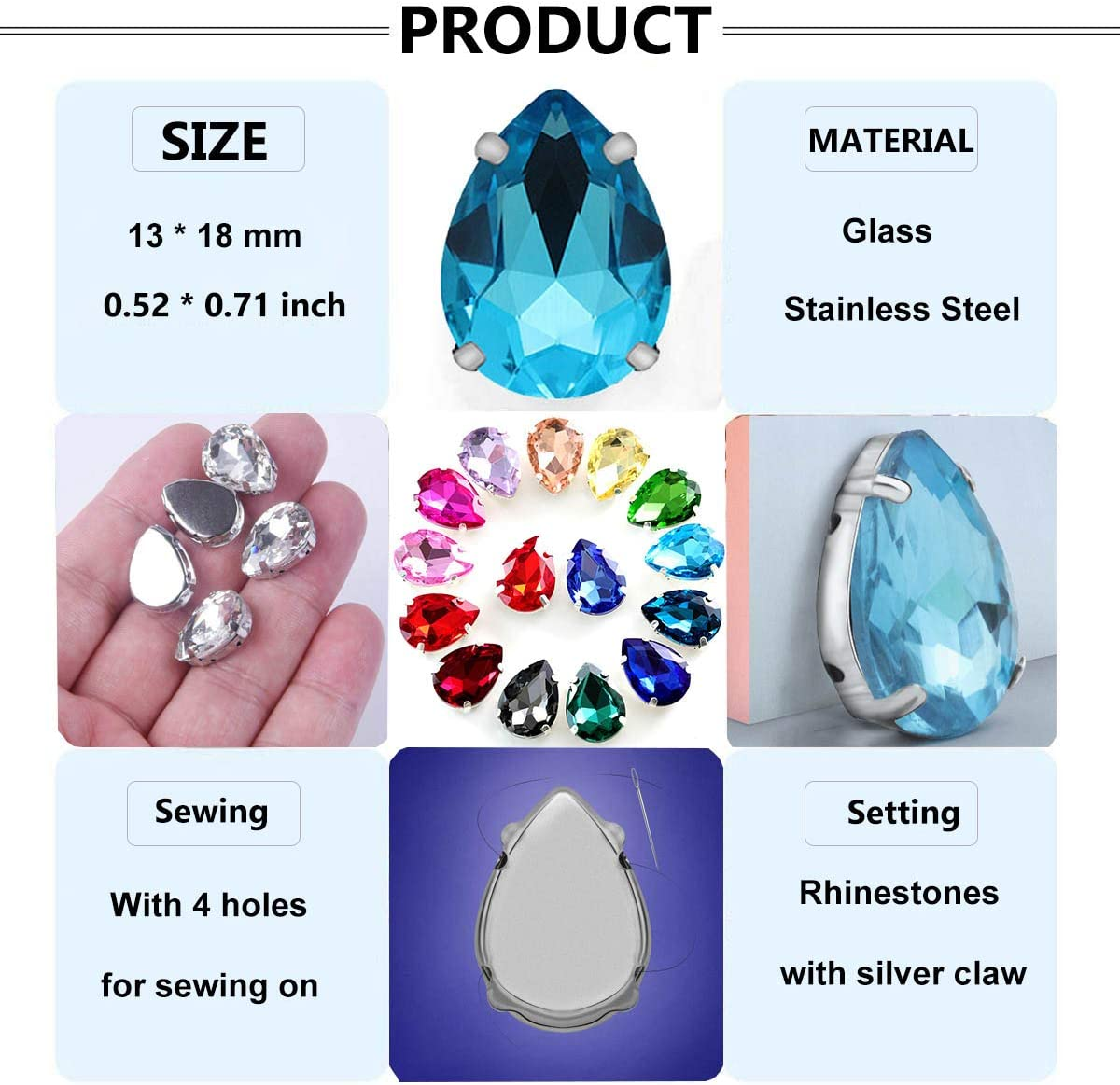 30pcs New Fashion Style Red Sew on Rhinestones Resin Crystals Water Drop Shape 1630mm Flatback 2 Holes Big Gem Stone