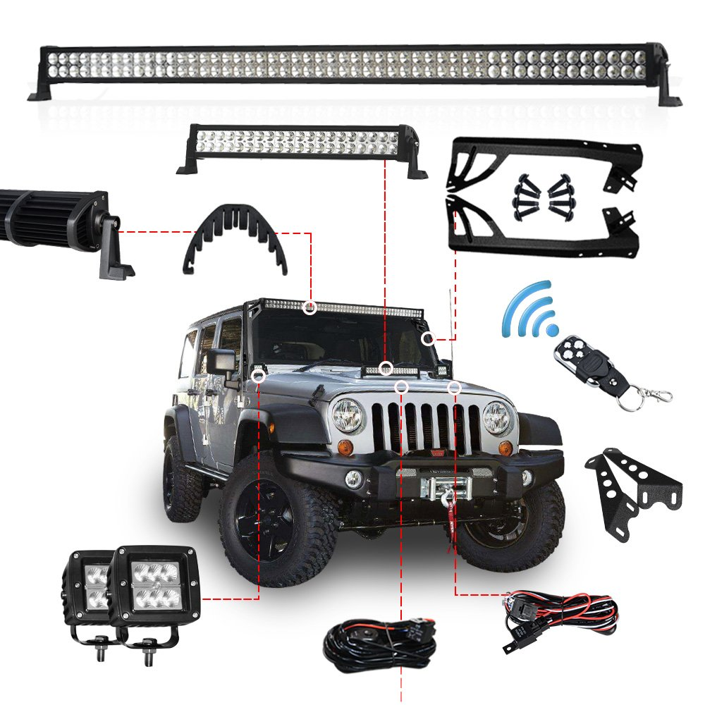 Racbox 1 X 22 120w Led Light Bar With Hood Mount Wire Harness On Jeep Jk Brackets 52 300w 2 24w Work Mounting Wiring Kit For Wrangler