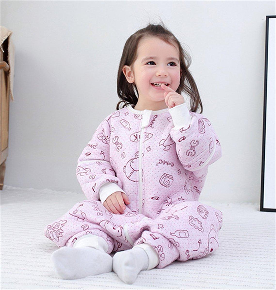 chils uessy Baby ganzjahres Saco de dormir de algodón 100% con mangas desmontables y pies para bebés Niños Pequeños de 80 - 125 cm rosa ...