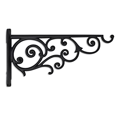 Gray Bunny Victorian Wall Hook, 14 Inch, Black, for Bird Feeders, Planters, Lanterns, Wind Chimes, As Wall Brackets and More! : Garden & Outdoor