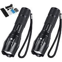 flintronic® LED Linternas, 2 PCS Recargable USB Linterna, Tactica Linterna, Militar Linternas de 5 Modos,Zoomable…