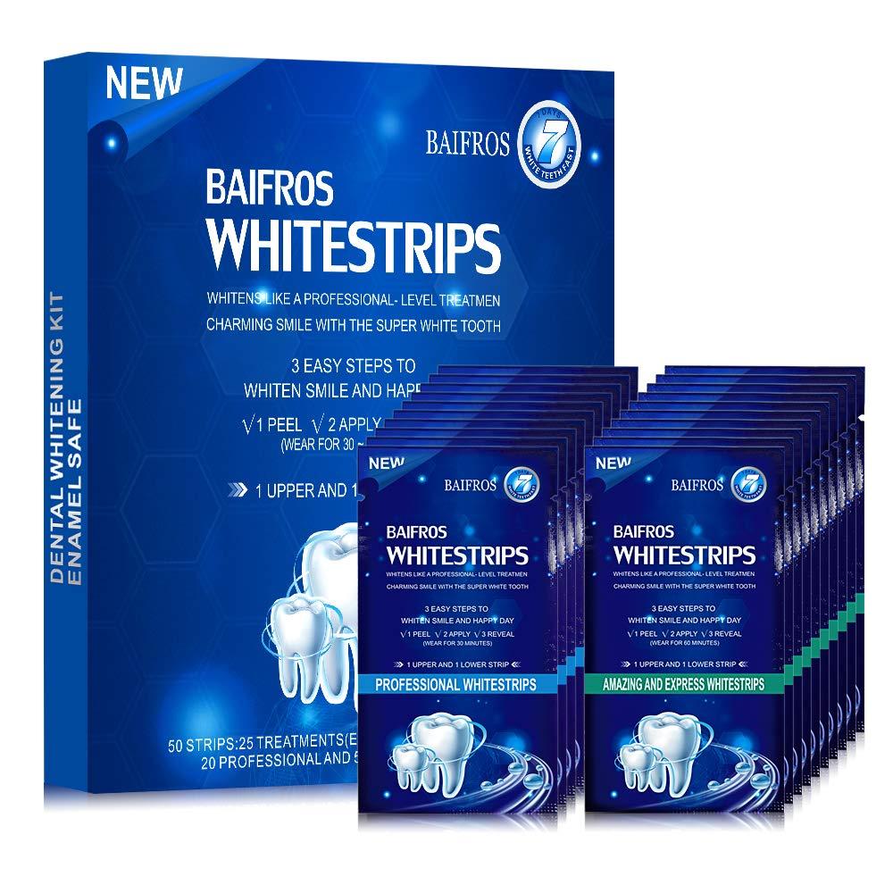 Teeth Whitening Strips for Teeth, BAIFROS 50 pcs Non-Slip 3D Dental Safe Formula White Strips for Teeth Whitening : Beauty