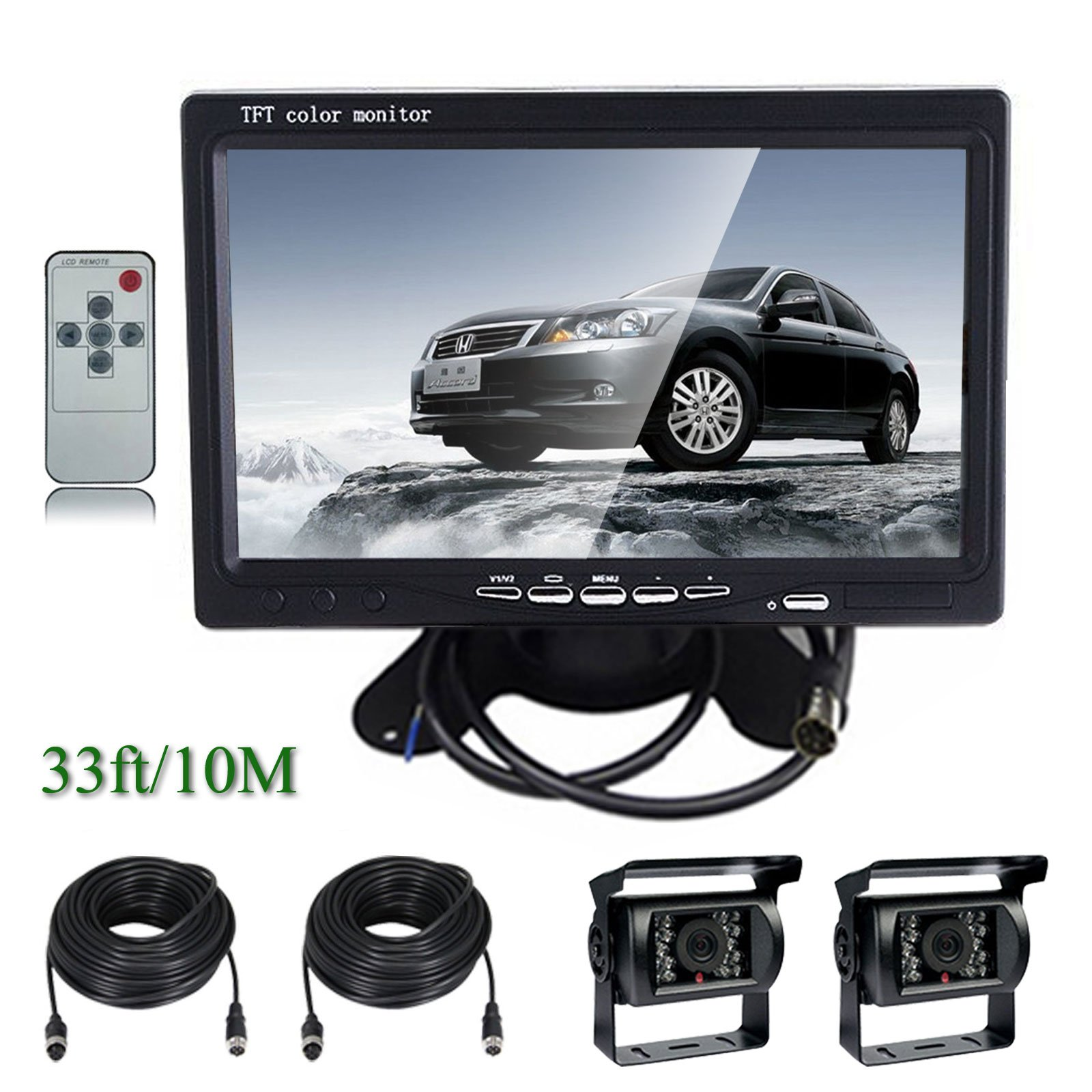 Ehotchpotch Backup Camera Kit for Bus Truck Vehicle, 7'' Color TFT LCD Widescreen16:9 Rearview Monitor, 4 Pin Connectors Waterproof CCD Camera IR Night Vision, Distance Scale Lines