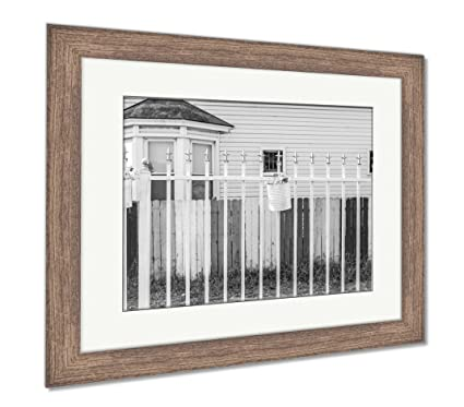 Amazon.com: Ashley Framed Prints House With Rainbow Colored Fence ...