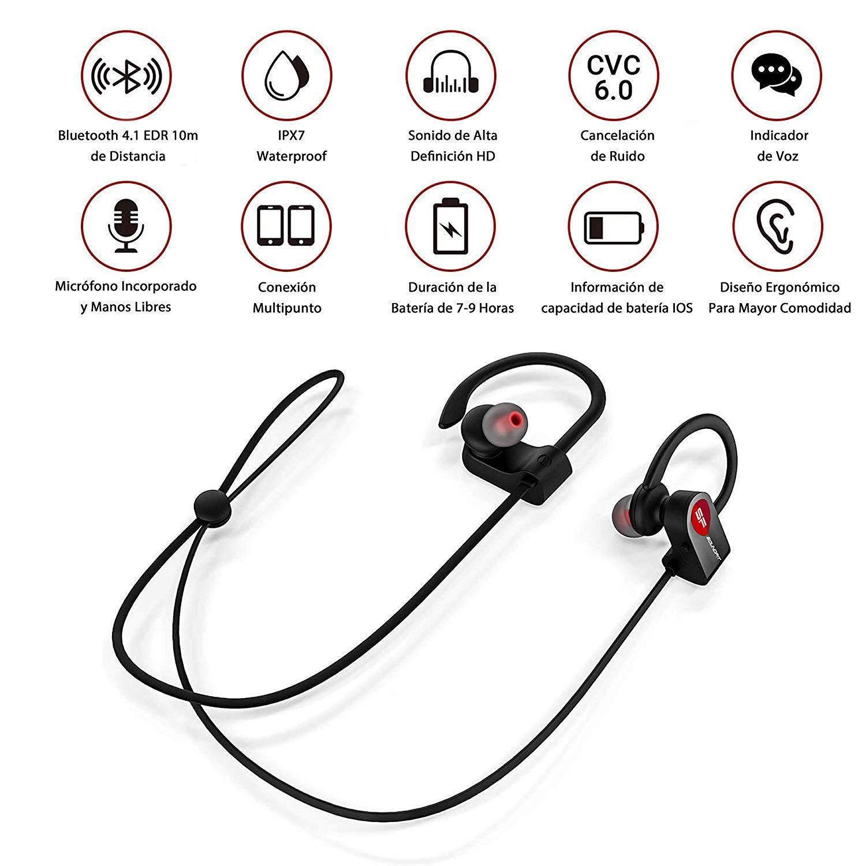 SoundFit Auriculares Inalambricos Bluetooth Deportivos Waterproof, Cascos Bluetooth 4.1 Inalámbricos para tv, Cancelación de Ruido, Auriculares IPX7 ...