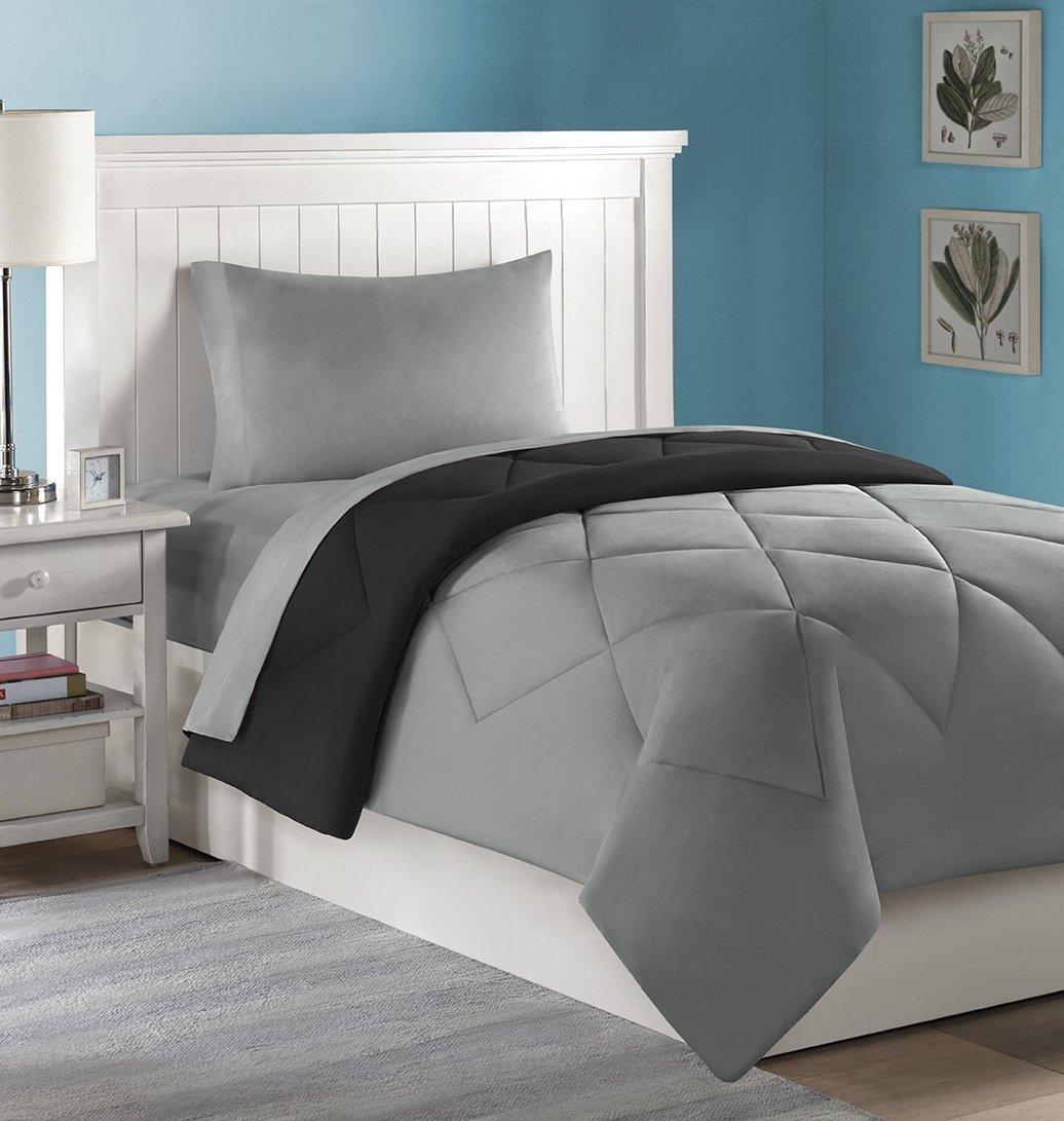 College Dorm Mini Bedding Set: Comforter, Sheets, Pillow Case - 4 PC. - Twin XL (Grey/Black)