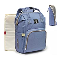 Nappy Changing Backpack,Hands-Free Diaper Bag Rucksack w Waterproof Changing Mat, Stroller Hook, Insulated Pockets, Mum Dad Backpack Blue Purple