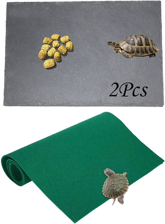 PINVNBY 2 Pcs Slate Reptile Basking Platform Tortoise Rock Food Plate Turtle Feeding Dish Bowl Reptile Carpet Grinding Nail Habitat Terrace for Lizard,Bearded Dragon,Crested,Gecko and Snake