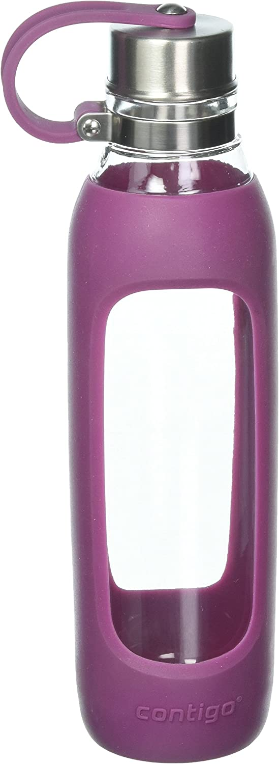Contigo Purity Glass Water Bottle, 20oz, Radiant Orchid with Silicone Tether