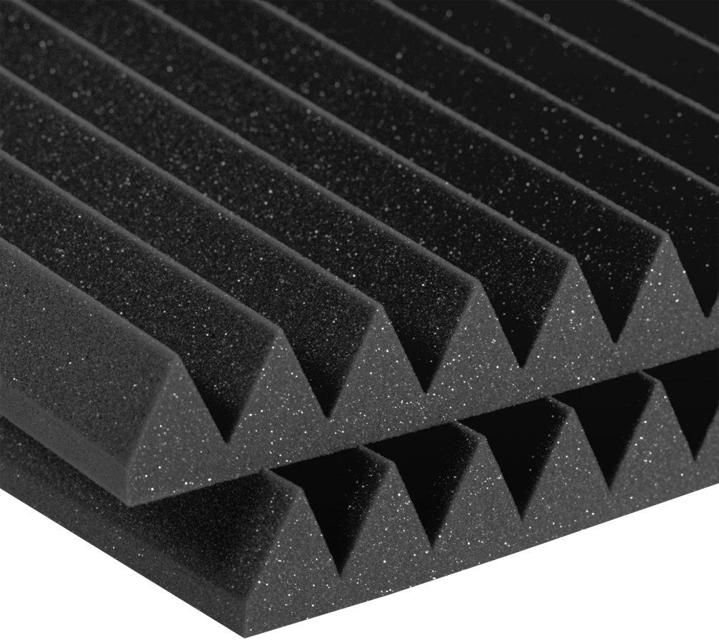 Auralex Acoustics Studiofoam Wedges Acoustic Absorption Foam, 2'' x 24'' x 24'', 12-Panels, Charcoal