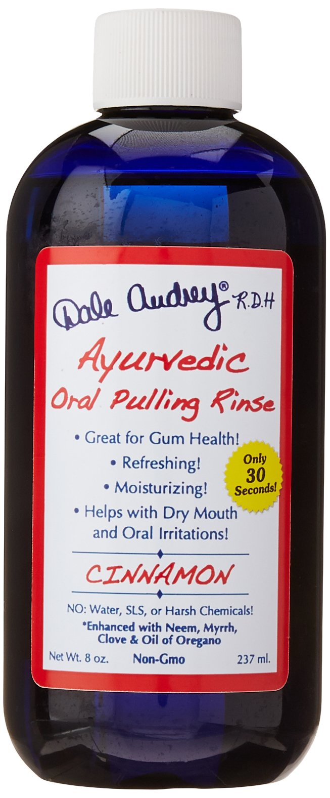 Ayurvedic Oral Pulling Rinse By Dale Audrey, Cinnamon ,With Neem, Myrrh, Clove & Oil of Oregano. 8oz (1.5 Month-1tsp) Natural & Organic