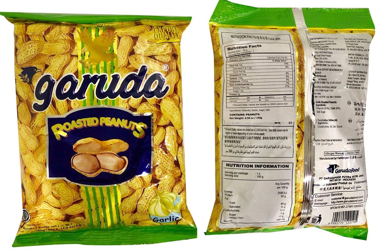 Roasted Peanuts in Shell (Garlic Flavor) - 4.9oz (Pack of 1) by Garuda (Image #3)