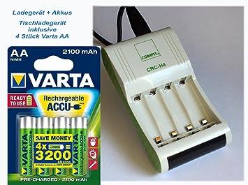 Cargador CRC de H4 (Incluye 4 pilas Varta AA 2100 mAh NiMH ...