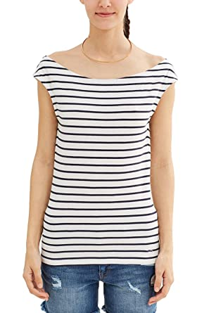 9706a9ffd6fc11 Image Unavailable. Image not available for. Colour: edc by Esprit Women's  047CC1K055 Boat Neck Short Sleeve T - Shirt ...