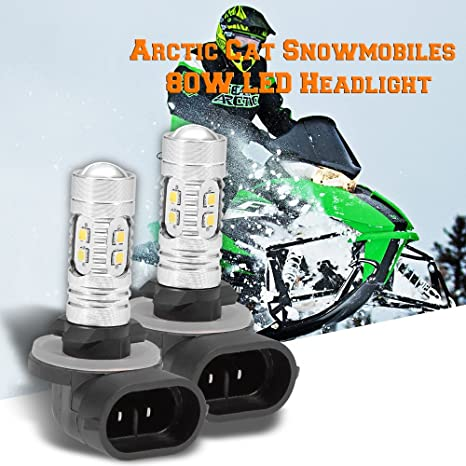 2 x LED Headlight Bulb For Arctic Cat 80W Super White fits Snowmobiles Bearcat Firecat Crossfire Mountain Cat Pantera Sabercat Z ZL ZR ZRT