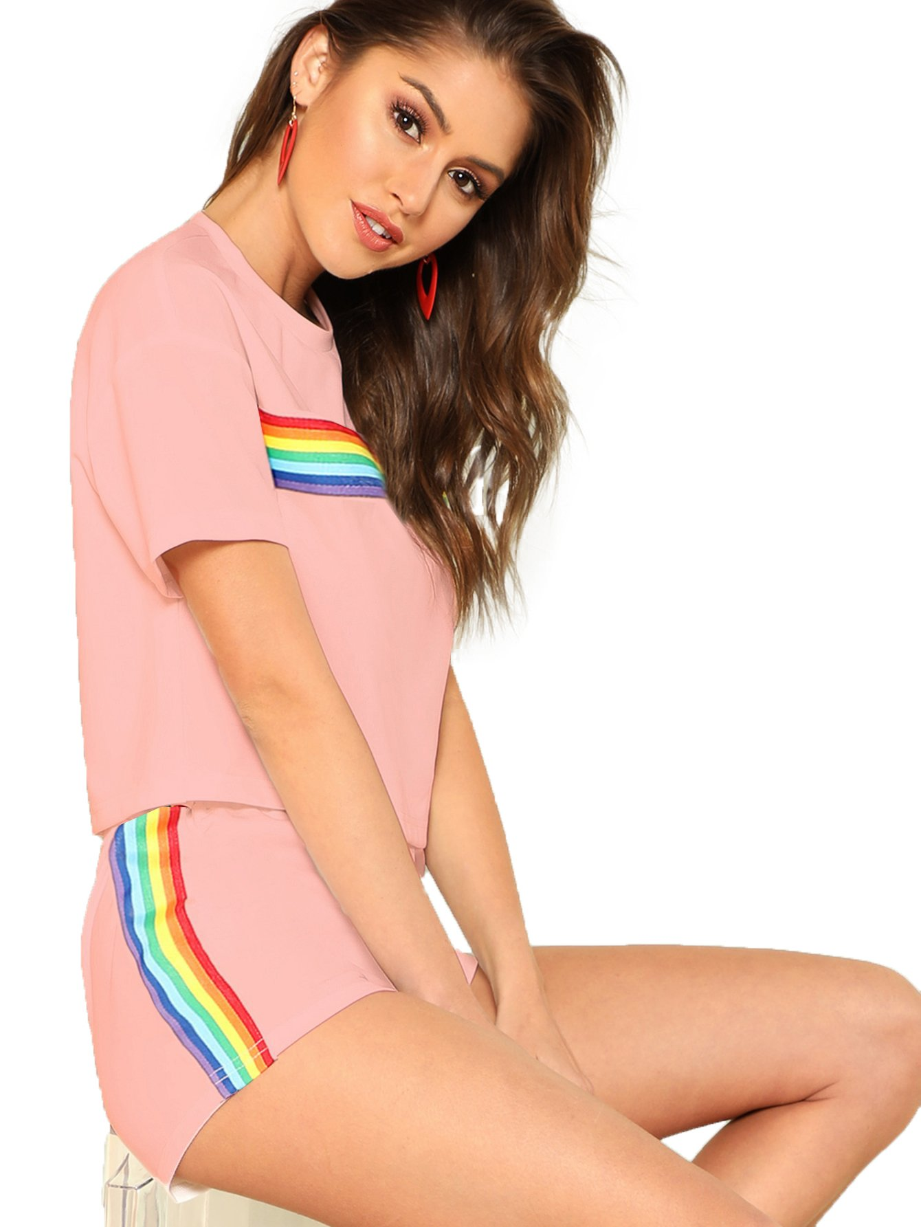 Romwe Women's 2 Piece Set Rainbow Print Casual Crop Cami Top with Shorts Pink M
