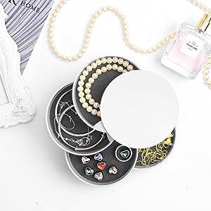 Jewelry Storage Box 4-Layer Rotatable Jewelry Accessory Storage Tray with Lid (White) …