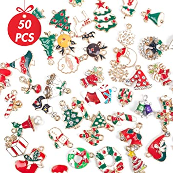 50pcs Snowflake Christmas Charms Pendants for Making Bracelet and Necklace