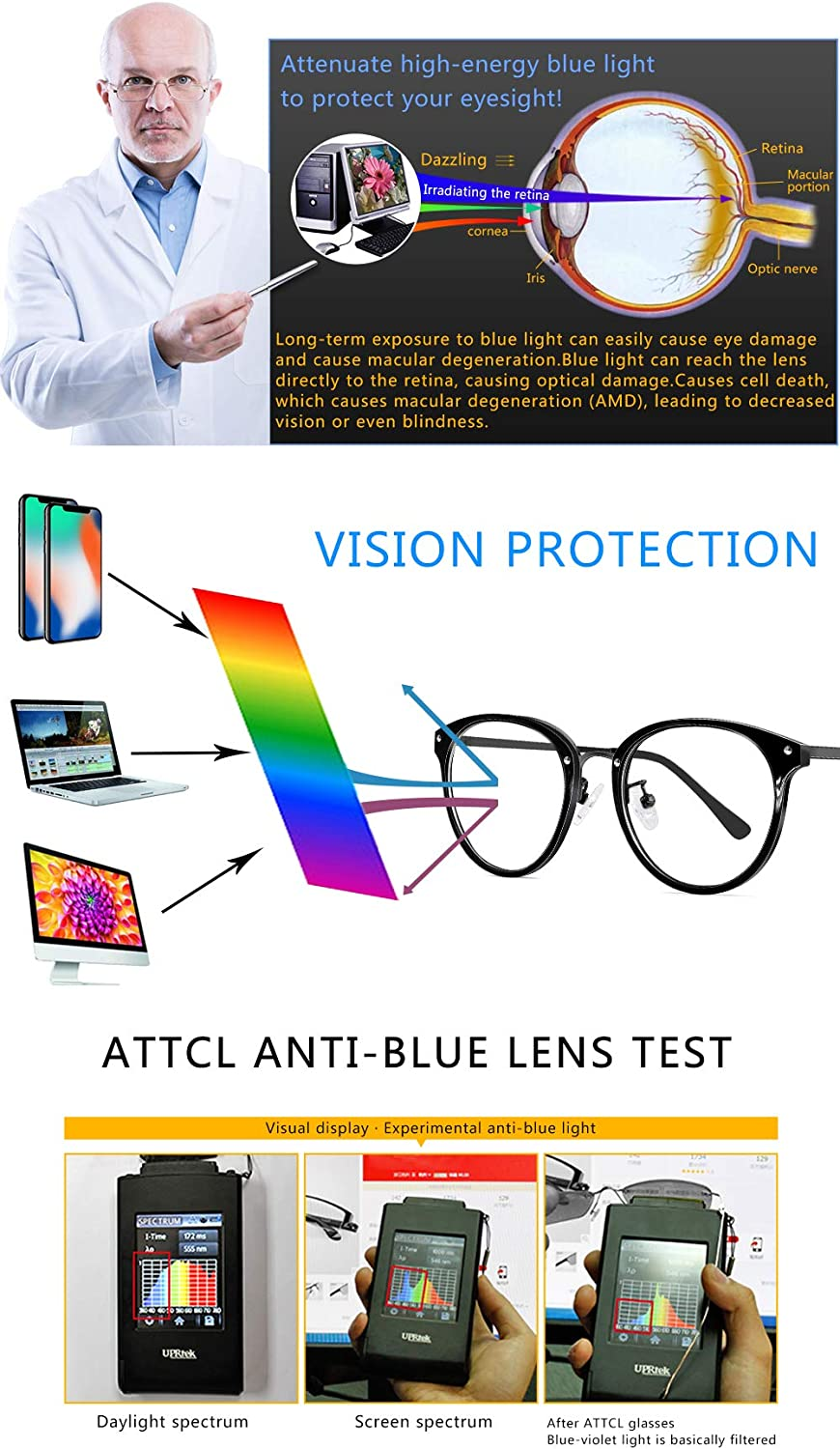 ATTCL Unisex Blue Light Blocking Glasses Women Men Anti Eye Strain Square Computer Gaming Reading Glasses