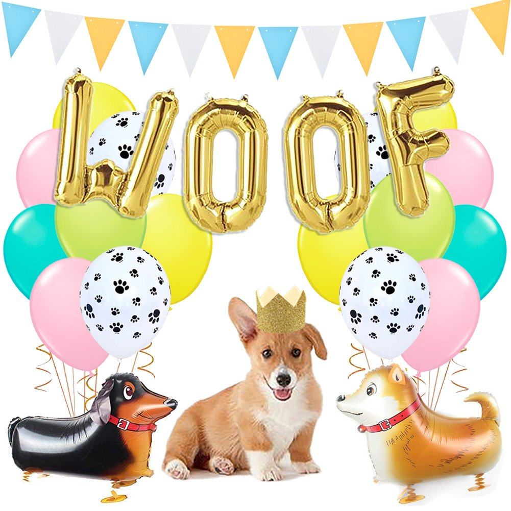 Dog Party Decorations Woof Dog Balloons Walking Dog Balloons Dog Party Hats for Puppy Dog Birthday Pet Theme Baby Shower Birthday Party Supplies