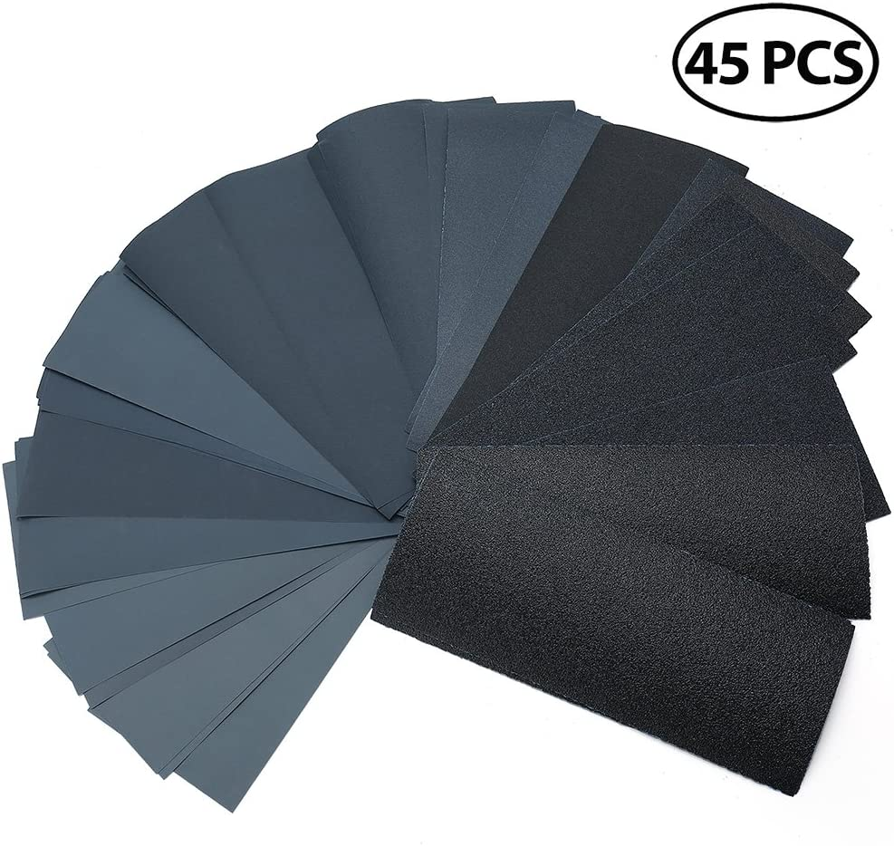 "80 to 3000 Grit Sandpaper Assortment, 45PCS 9 x 3.6"" Silicon Carbide Dry Wet Sandpaper, for Metal Sanding, Automotive Polishing, Wood Furniture, Wood Turning Finishing by LotFancy 71fEWBVTEaL"