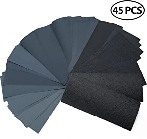 """Dry Wet Sandpaper by LotFancy, 45PCS 9 x 3.6"""" Silicon Carbide, 80 to 3000 Grit Sandpaper Sheets Assortment, for Metal Sanding, Automotive Polishing, Wood Furniture, Wood Turning Finishing"""