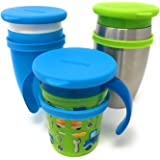 Custom Silicone Lids for All Munchkin Miracle 360 Cups. Set of Three Food Grade Silicone Lids Help Prevent Leakage and Keep Cups Clean from Dust and Diret. Color Blue, Blue, Green.